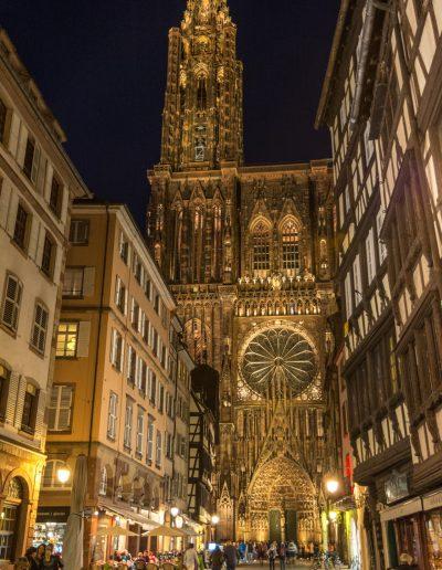 Straßburger Münster am Abend, Westfassade
